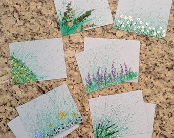 Set of 6 Hand Painted Note Cards - Floral