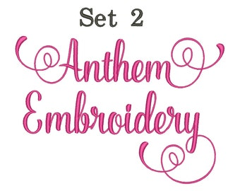 Anthem Script Embroidery Font Set 2 Machine Embroidery Monogram Font Designs 5 Size Bx Embroidery Fonts - INSTANT DOWNLOAD
