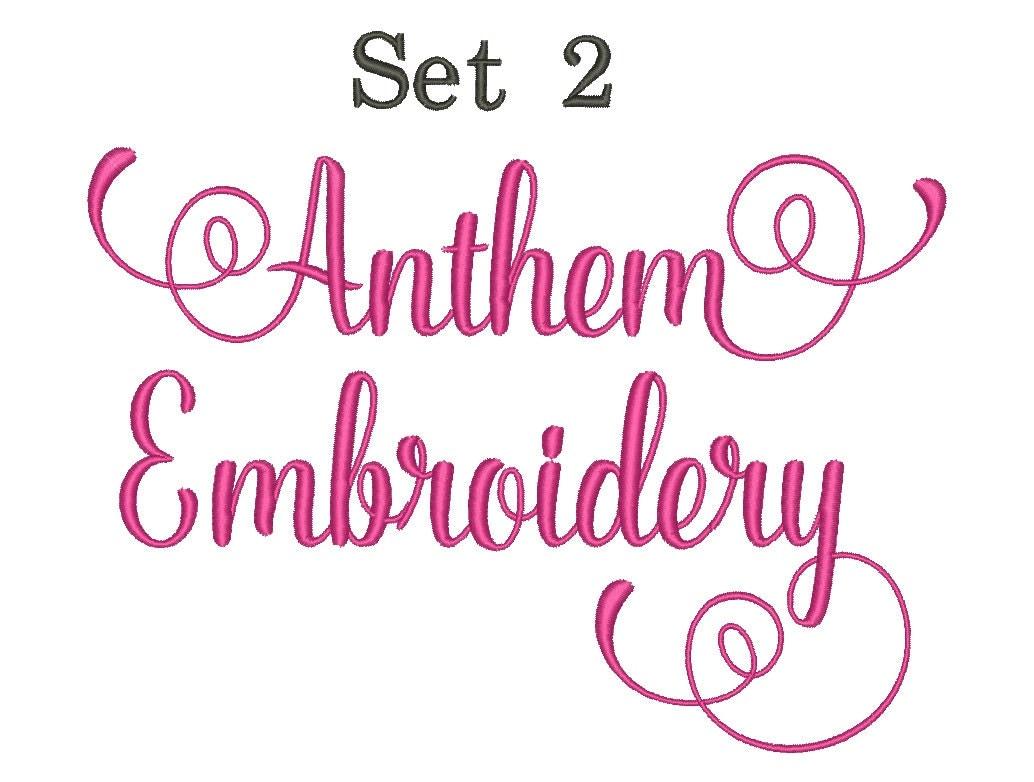 Anthem script embroidery font set machine