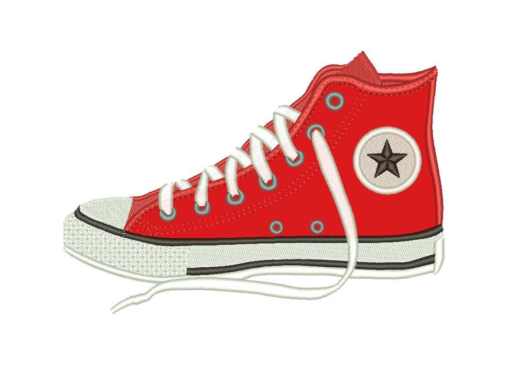 SALE Converse Shoe Appliqué Embroidery Design Machine