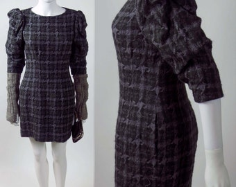90s Irish wool 3D woven plaid designer vintage puffed sleeve mini dress
