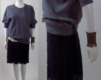 80s Boho floral guipure cotton lace A-line mini skirt