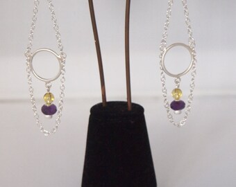 Long Sterling Silver Chain, Amethyst and Citrine Earrings