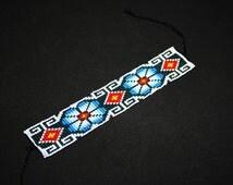 Ethnic Huichol Bracelet - Beaded Huichol Bracelet - Peyote Flower Mayan Art - Tribal Bracelet - Native American Beaded Bracelet Hippie Folk