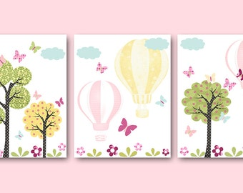 Hot Air Balloon Kids Wall Art Nursery Digital Print Printable Art Baby Girl Nursery Art Print Kids Art set of 3 8x10 11X14 INSTANT DOWNLOAD