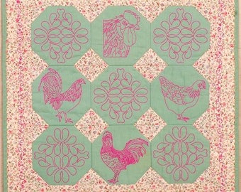 Roosters and Chickens Wall Hanging or Table Cover