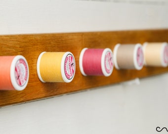 Handmade Solid Wood Pink & Beige Thread-Reel Peg Wall Mounted Coat Rack 5 Hooks
