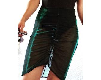 Green iridescent skirt Ooak handmade size small