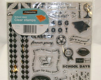 LOT of 2 Clear Stamp Sets - Fiskars School Days and Text Tales by TPC Studios - NEW!