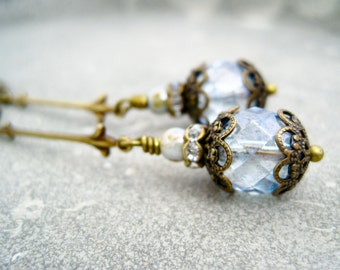 Earrings light blue vintage brass dangles blue rhinestone rondelles ice blue glass beads earrings vintage brass