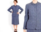 Women's 1940s Victory Suits and Utility Suits 40s Blue Wool Suit  Periwinkle Wool Tweed Suit  Imported Wool  Tailorbrooke  Small $175.00 AT vintagedancer.com
