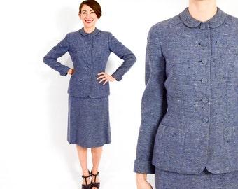 40s Blue Wool Tweed Suit | Periwinkle Wool Tweed Suit | Jacket & Pencil Skirt | Tailorbrooke | Small