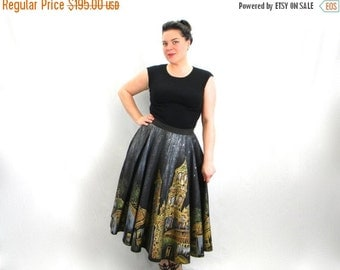 Summer SALE 50s Cathedral Swing Skirt | Grey Gold Painted Full Skirt |  Large