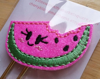 Kawaii Cute Watermelon Neon Glittery Paper Clip