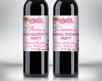 Bridal Shower Party Wine Bottle Labels, Customized - Bachelorette Party - Flower Style Wine Labels - DIY Print, Printable PDF