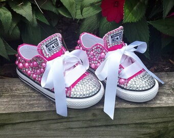 Pink Bling Converse Shoes, Bling shoes, Custom converse, Rhinestone shoes, Birthday shoes, Toddler Shoes, Baby Bling Shoes, Converse