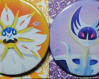 "2.25"" Solgaleo and Lunaala Pin Set"