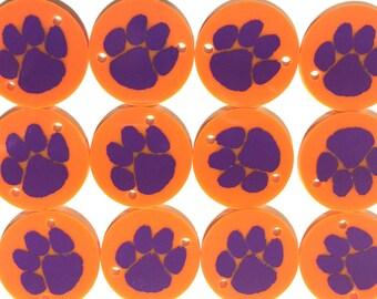 Orange Paw Prints on 2 hole purple disc, jewelry making bangle bracelet, gift, handmade beads - 1.25 inch size Clemson South Carolina Tigers