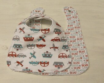 Baby Bib 2 Pack- Boats Planes Cars