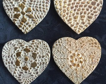 Pottery heart coasters