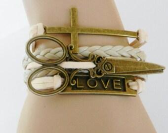 CHARM BRACELET Hair Stylist Hair Dresser Beauty Salon Women's Jewelry Love-Scissors-Cross Adjustable Bracelet