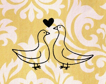 Dove Stamp, Valentine's Day Stamp, Doves in Love Stamps: Wood Mounted Rubber Stamp