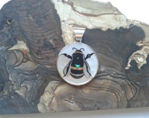 Bumble Bee Inlay Sterling Silver Pendant with Mother of Pearl, Lab Opal, Coral and Horn