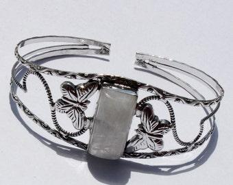 Natural Rainbow Moonstone Gemstone Bangle Bracelet / Cuff Bracelet / Fashion Jewelry, Fashion Bracelet / Cuff Bracelet Bangle S23