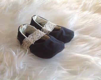 Denim lace mary jane baby shoes, reclaimed leather baby shoes, baby booties, crib shoes, Mary Janes