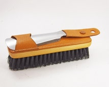 Vintage mens tan leather shoe boot brush and shoe horn chrome vanity set grooming 1950s - perfect gift for him