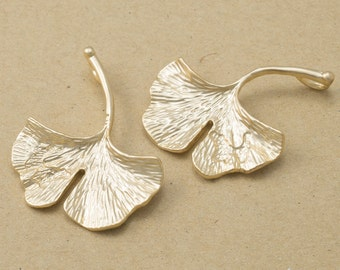 Ginkgo Leaf Pendant, Jewelry Craft Supplies, Branch Pendant, Handmade Jewelry, Matte Gold Plated Over Brass - 2 Pieces-[YP0116]-MG