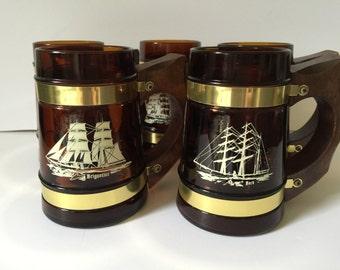 Vintage Siesta Ware Barrel Mugs...Maritime Inspired Amber Glass Beer Mugs..Nautical Sailing Ship Bar Mugs..Man Cave Bar Decor..