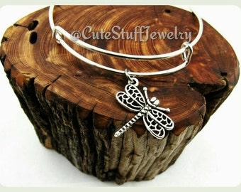 Handmade Dragonfly Bracelet, Dragonfly Bangle, Adjustable Bangle Bracelet, Antique Silver Dragonfly Jewelry, Insect Bracelet, Boho Bracelet