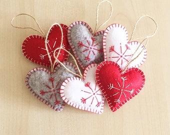 Christmas ornaments set (6). Handmade Felt Ornaments. Handmade gifts. New year ornaments. Christmas gifts.