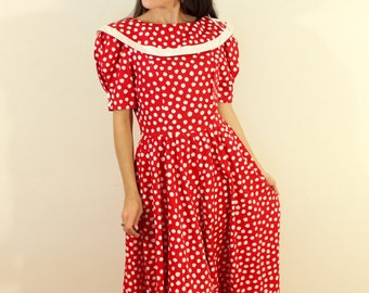 1980s does 1950s Brand New Robbie Bee Red and White Polka Dot Dress