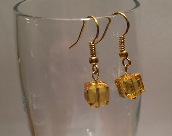 Swarovski crystal drop earrings - sunset yellow