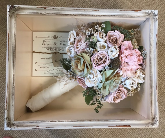 Floral preservation for wedding bouquets in shadow box local like this item junglespirit Image collections