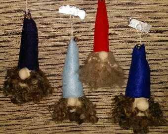 Handmade Needlefelted Santa Elves Ornaments