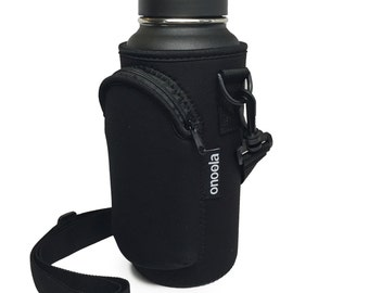 Black Pocket Carrier for 30oz Yeti & 32oz Hydro Flask Type Bottles with Adjustable Straps ...