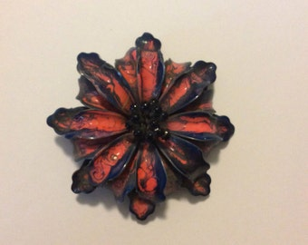 Retro 60's flower power vintage blue daisy flower brooch
