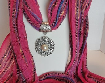 Bright Fushcia Scarf with Pearl Pendant