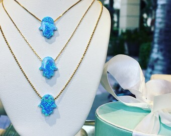 Opal Hamsa Necklace 14K REAL SOLID GOLD for Those Who Simply Must Have it! • Plus Take Additional 10% Off at Checkout