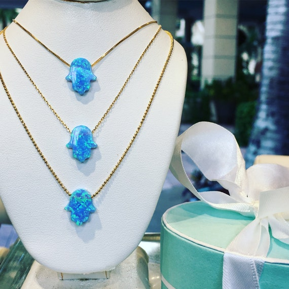 Opal Hamsa Necklace 14K Solid Gold for Those Who Simply Must Have it! • Plus Take Additional 10% OFF at Checkout