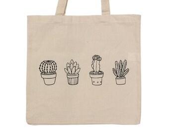 SALE! Succulent Plants Cactus cotton tote bag cotton canvas cute gift fashion