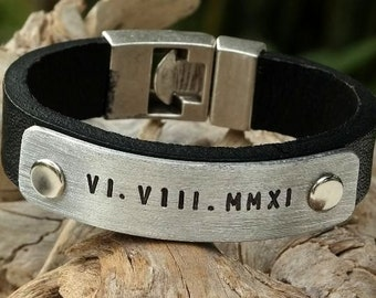 EXPRESS SHIPPING. Mens Leather Bracelet. Personalized Leather Bracelet. Custom Jewelry. Gift for Him. Birthday Gift, Anniversary gift