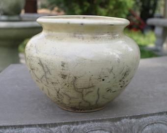 Raku Pale Yellow  Pottery Flower Vase - Raku Ceramic Vase - Raku Pottery -Kiln ceramics