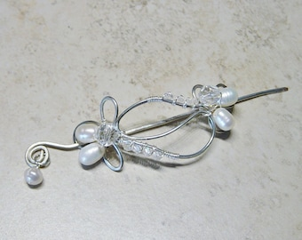 Scarf Pin, Silver Beaded Wire Pin, Shawl Pin, Pearl & Crystal Bead Scarf Pin, Scarf Accessory Gift, Gift for Her
