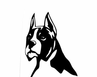 DIY Vinyl Decal, Boxer Dog #1, Choose Size, Choose Color, Laptop, Phone, Car Window, Coffee Tea Cup, Drinking Cup, Home Decor