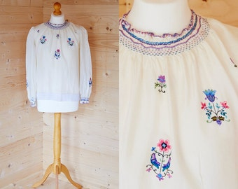 1930's embroidered silk peasant blouse