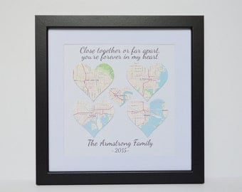Long Distance Family Gift- Gift for Parents,  Far Away Family, Gift for Sister, Gift for mom, Gift for Dad, Map Home Decor